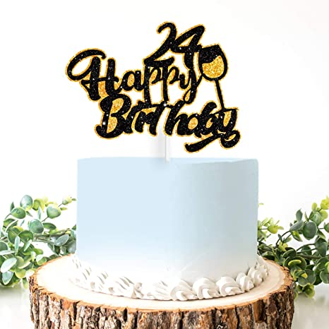 Super Amazon Com Aerzetix Birthday Decoration Happy 24Th Birthday Cake Personalised Birthday Cards Veneteletsinfo