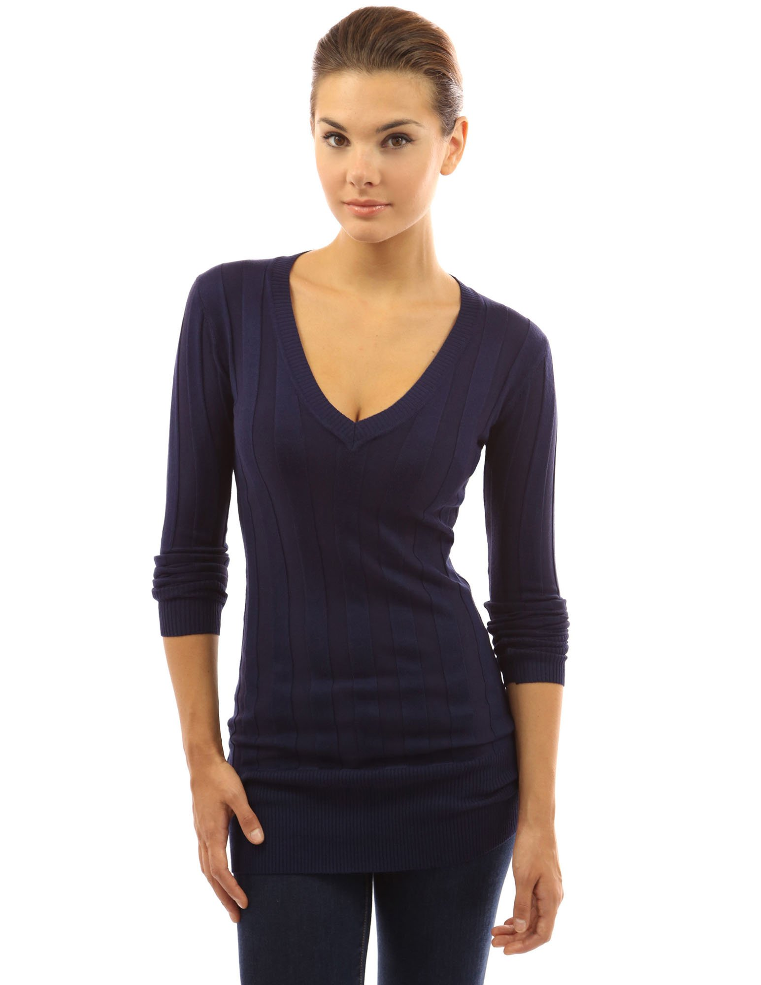 PattyBoutik Women V Neck Ribbed Tunic Knit Top (Dark Blue Medium)