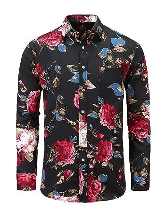 6a7af46a80ccaf Jandukar Men's Cotton Floral Shirt Long Sleeve Flower Shirt(BlackRose,S)
