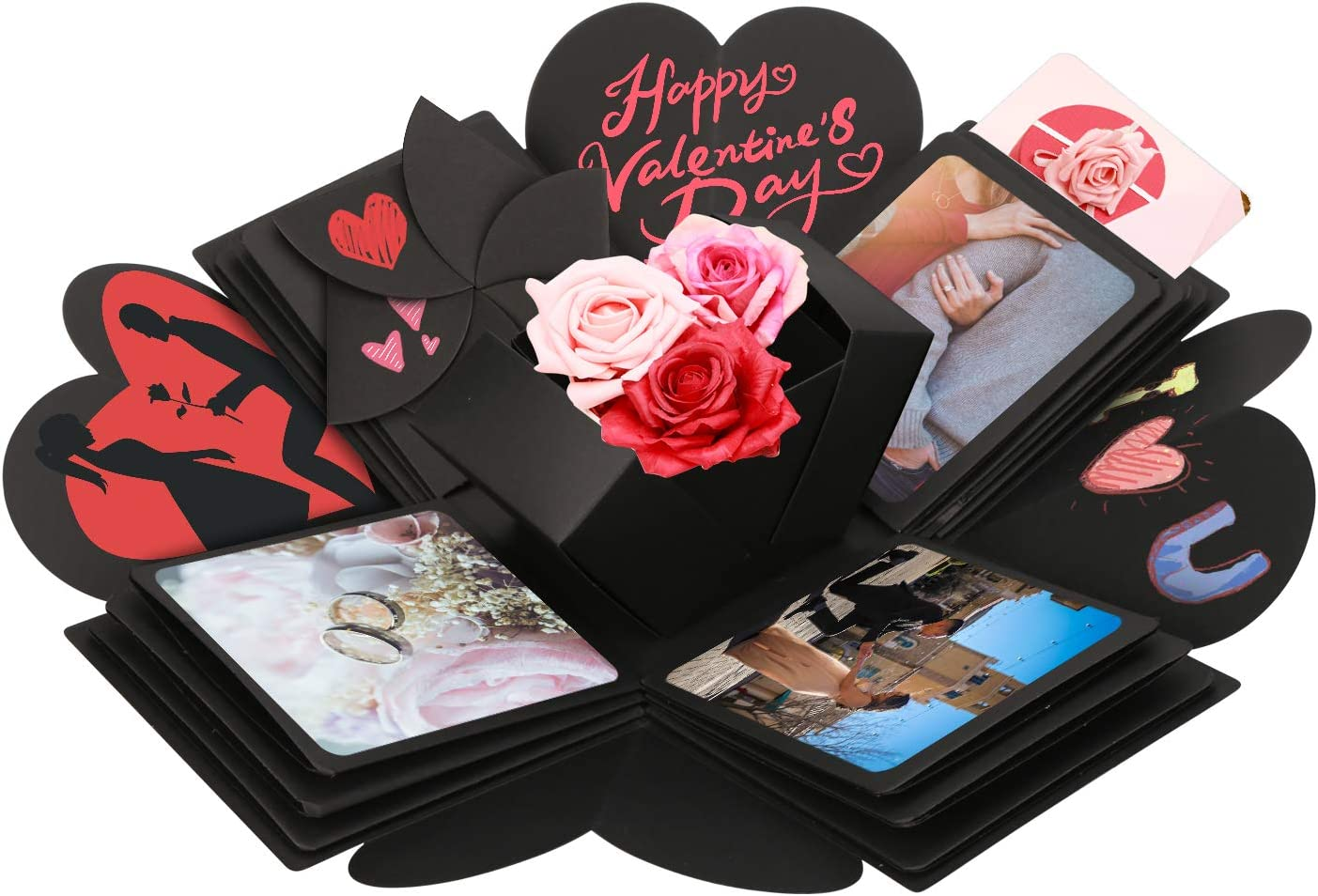 Mitening /Überraschung Box Kreative Explosionsbox Geschenkbox /Überraschungsbox Fotobox DIY Geschenk Scrapbook Faltendes Foto-Album f/ür Valentine Jahrestag Geburtstag Hochzeit Muttertag Weihnachten