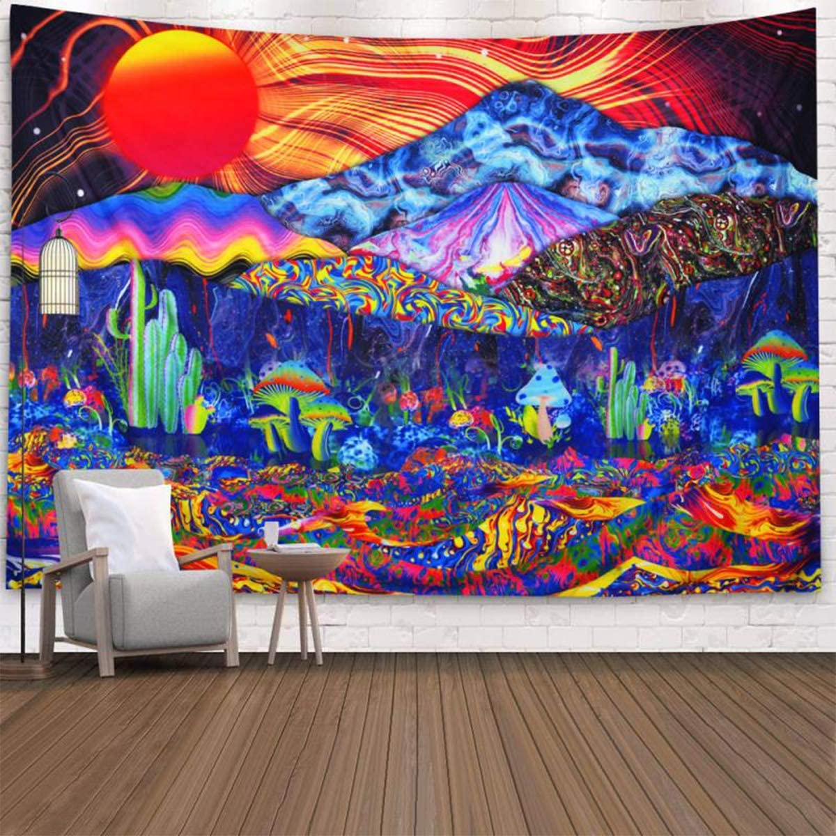 CLOMAY Trippy Mushrooms Tapestry Psychedelic Tapestries Fantasy Colorful Mountain Landscape Hippie Waves Abstract Sun Tapestry Wall Hanging for Bedroom, Living Room, Dorm Mushroom, 150*130cm 59*51in