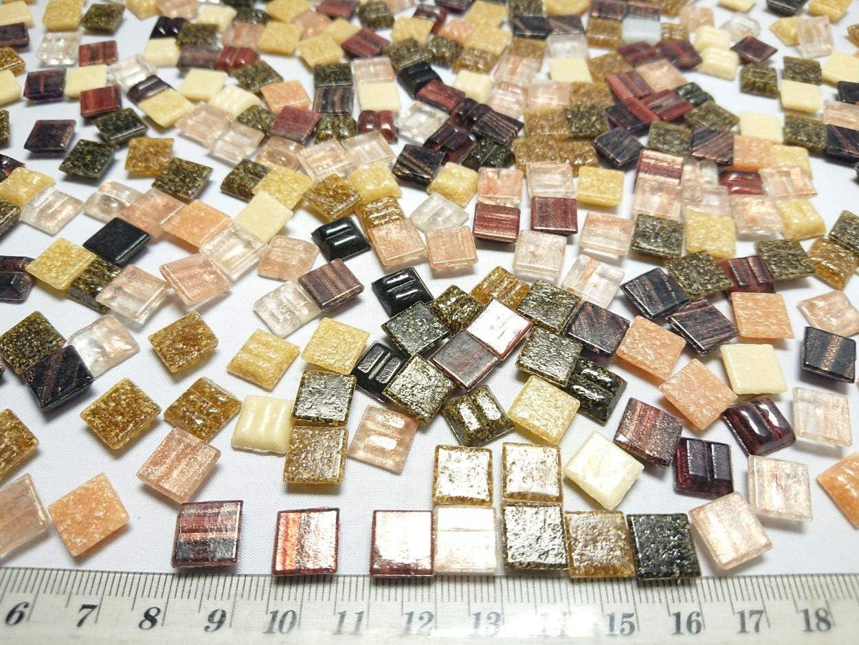 Happy-Mosaic Glas Mosaiksteine Braun Mix mit Goldregeneffekt im Format 1x1cm 500g lose Glas Steinchen zum Basteln
