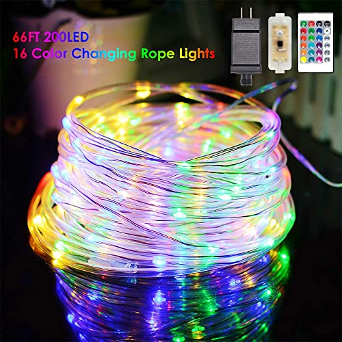 YoTelim LED Rope Lights Outdoor String Light, 66FT 16 Color Changing LED Strip Light with Remote Control,Waterproof 200LED Outdoor Tube String Lights Plug in for Garden Patio Party,Christmas Decor