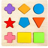 Lewo Wooden Preschool Shape Puzzles Geometric Sorting Games Early Development Educational Toys for Toddlers Boys Girls