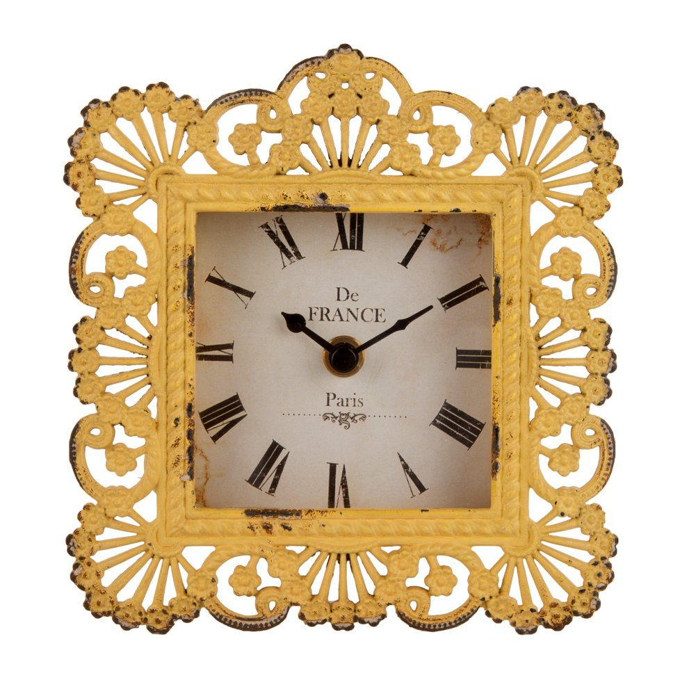 NIKKY HOME Shabby Chic Metal Peacock Feather Square Yellow Table Clock Bedroom Home Decor,6 6.5-inches, Yellow