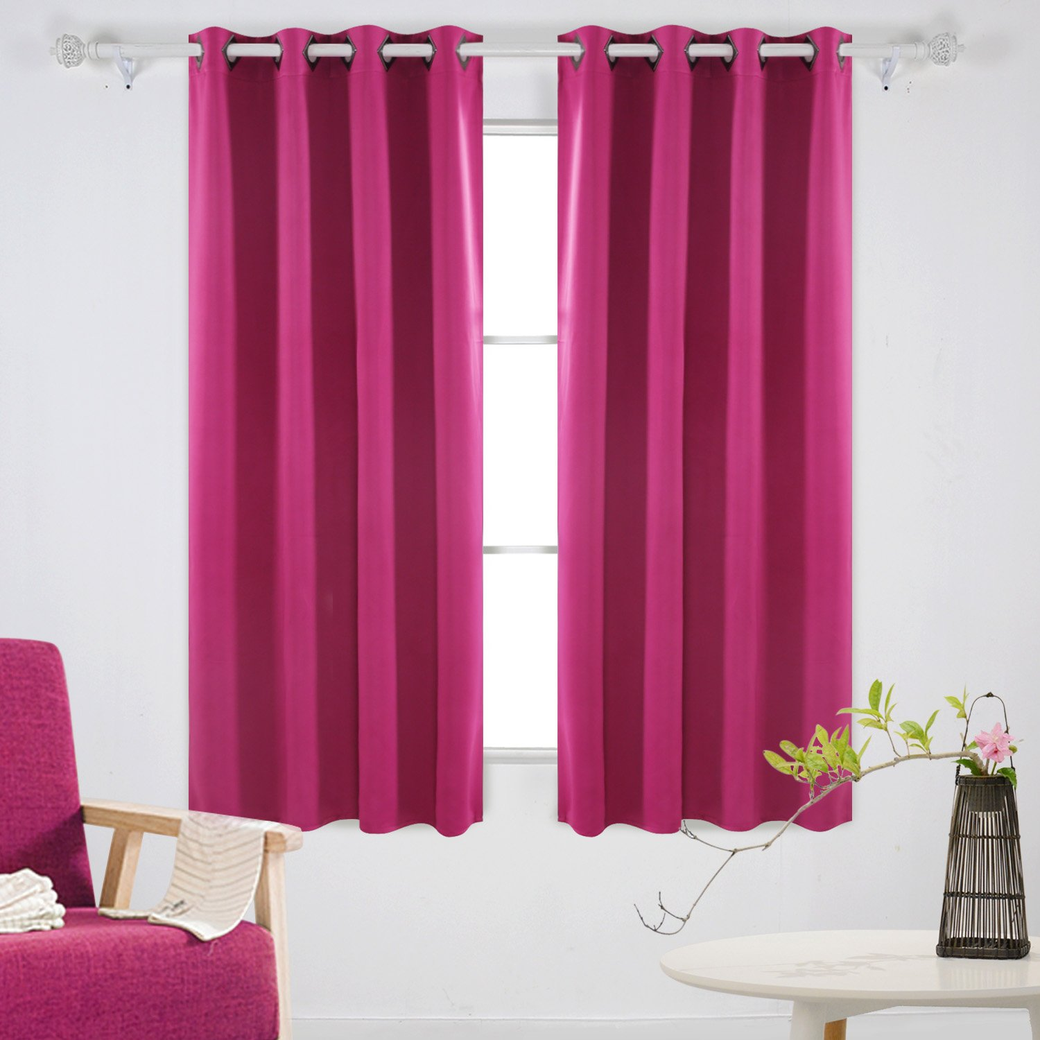 Deconovo Solid Grommet Top Curtains Blackout Curtains