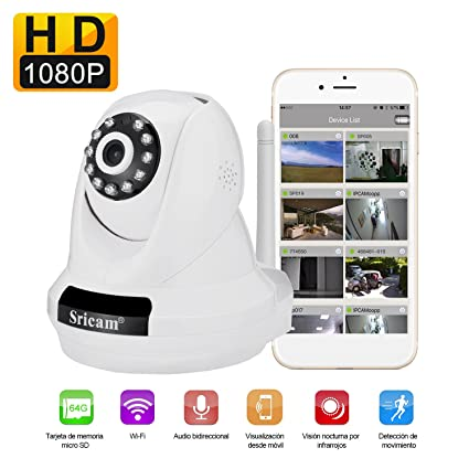 Cámara Video Vigilancia Sricam SP018 LESHP IP WiFi P2P IR Resolución nativa 1080P FullHD 2,