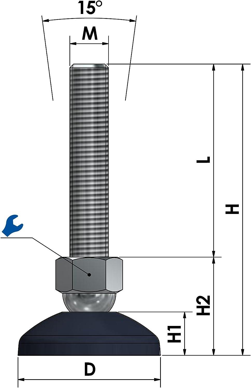 M8-M30 Lot de 4 pieds de stabilisation r/églables en hauteur avec vis M8-M30 /Ø 59 mm