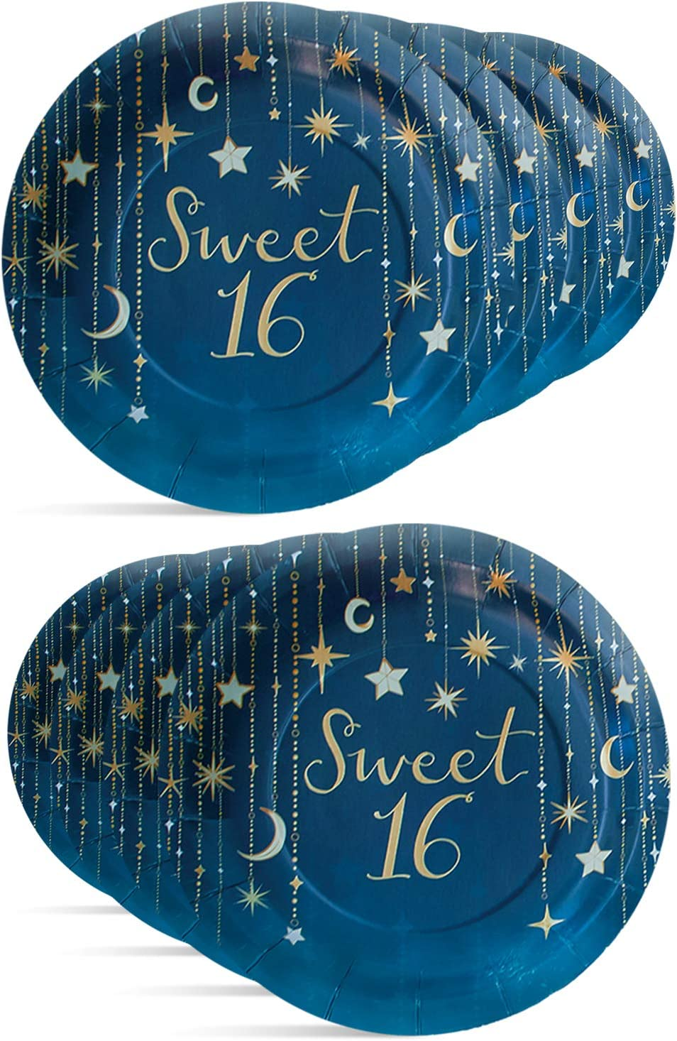 "Starry Night Sweet 16, 9"" Round Party Paper Plates 