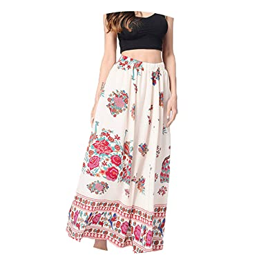 c43d78414f Image Unavailable. Image not available for. Color: Short Skirts Women Boho  Maxi Skirt Floral Printed Holiday Summer High Waist Long ...