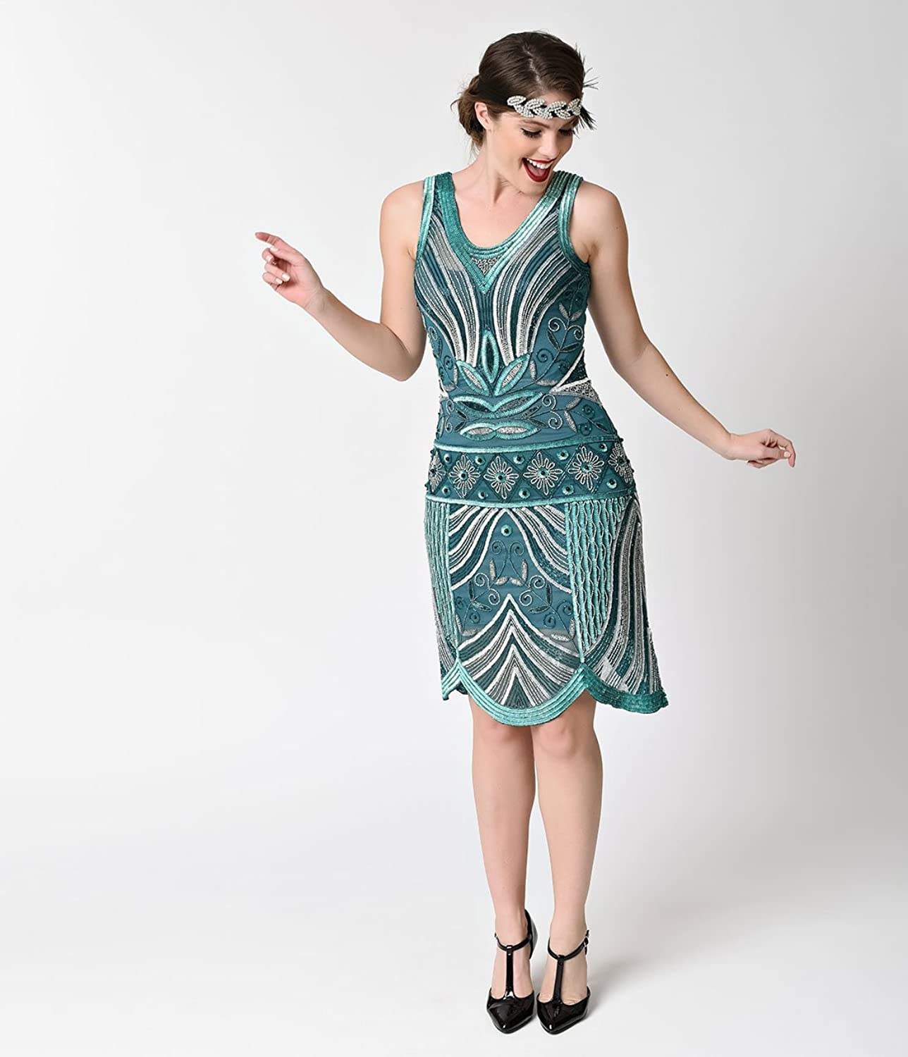 Unique Vintage 1920s Style Teal & Silver Deco Beaded Caspian Flapper ...