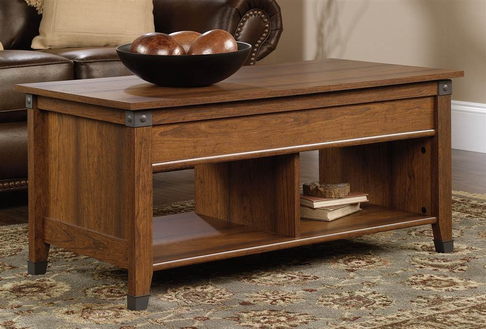 Sauder Carson Forge Lift Top Coffee Table Washington Cherry Finish Ebay