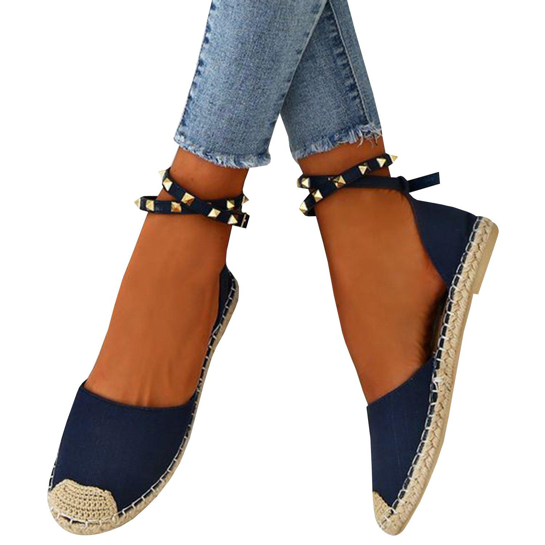 Gemijacka Damen Knouml;chel Schnalle Riemen Espadrilles Ausgeschnitten Binden Niet Klassischen Sommer Flache Sandale Schuhe  35 EU|2-blau