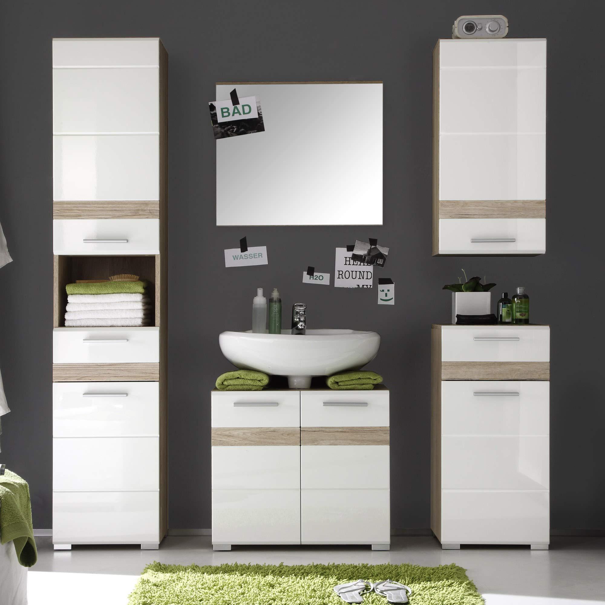 Furnline High Gloss Bathroom Furniture Tall Cabinet Set ...