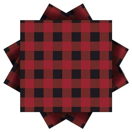 Aneco - Servilletas de papel a cuadros, color rojo y negro ...