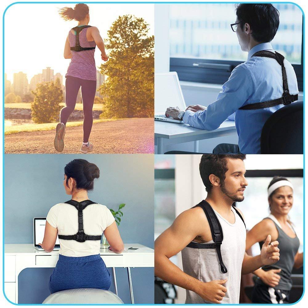Posture Corrector, Back Support Brace, Posture Correction for Upper Back, Shoulder & Clavicle Area, Adjustable Front/Back Belt Breathable Straps, Posture Brace Help to Improve Posture for Men & Women