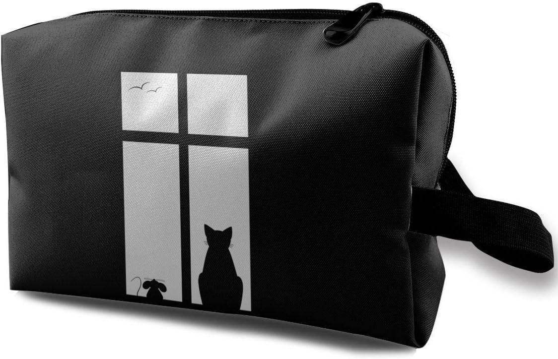 Women's Cat Beside Window Travel Hanging Toiletry Bag Portable Travel Kit Shaving Bathroom Storage Bag Waterproof Cosmetic Organize
