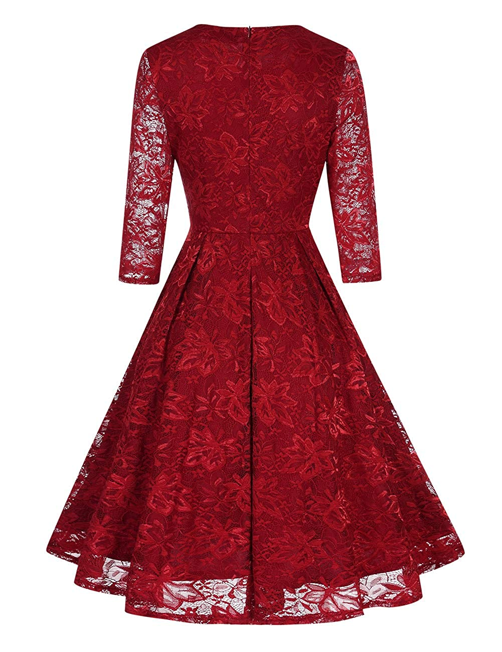 Women Lace Dress 3//4 Sleeve Party Cocktail Wedding Fit and Flare Midi Evening Dresses