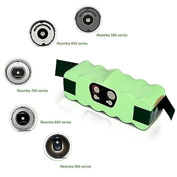 efluky 【Super Capacidad 3800mAh】 Nueva Capacidad 3800mAh Ni-MH batería de Repuesto para iRobot Roomba 500 600 700 800 Series, Verde: Amazon.es: Hogar