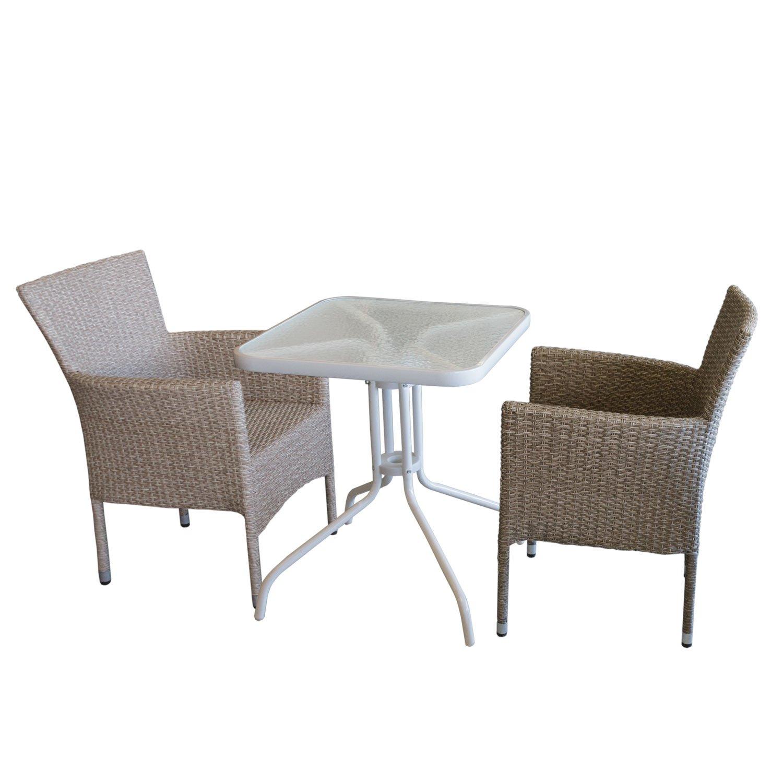 3tlg. Bistromöbel-Set Bistrotisch, Glastisch, Metall, 60x60cm, Weiß ...