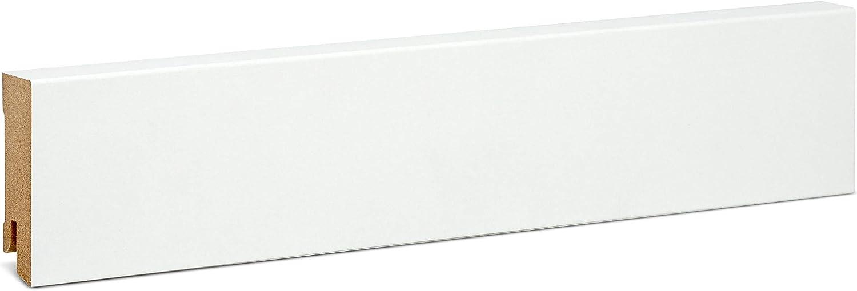 Modern Bodenleiste weiss ✓Echtholz foliert ✓f/ür Parkett /& Laminat ✓wei/ße Leiste mit Starkfolie KGM Fu/ßleiste wei/ß 80mm /gerade Fu/ßleisten 16x80x2500mm