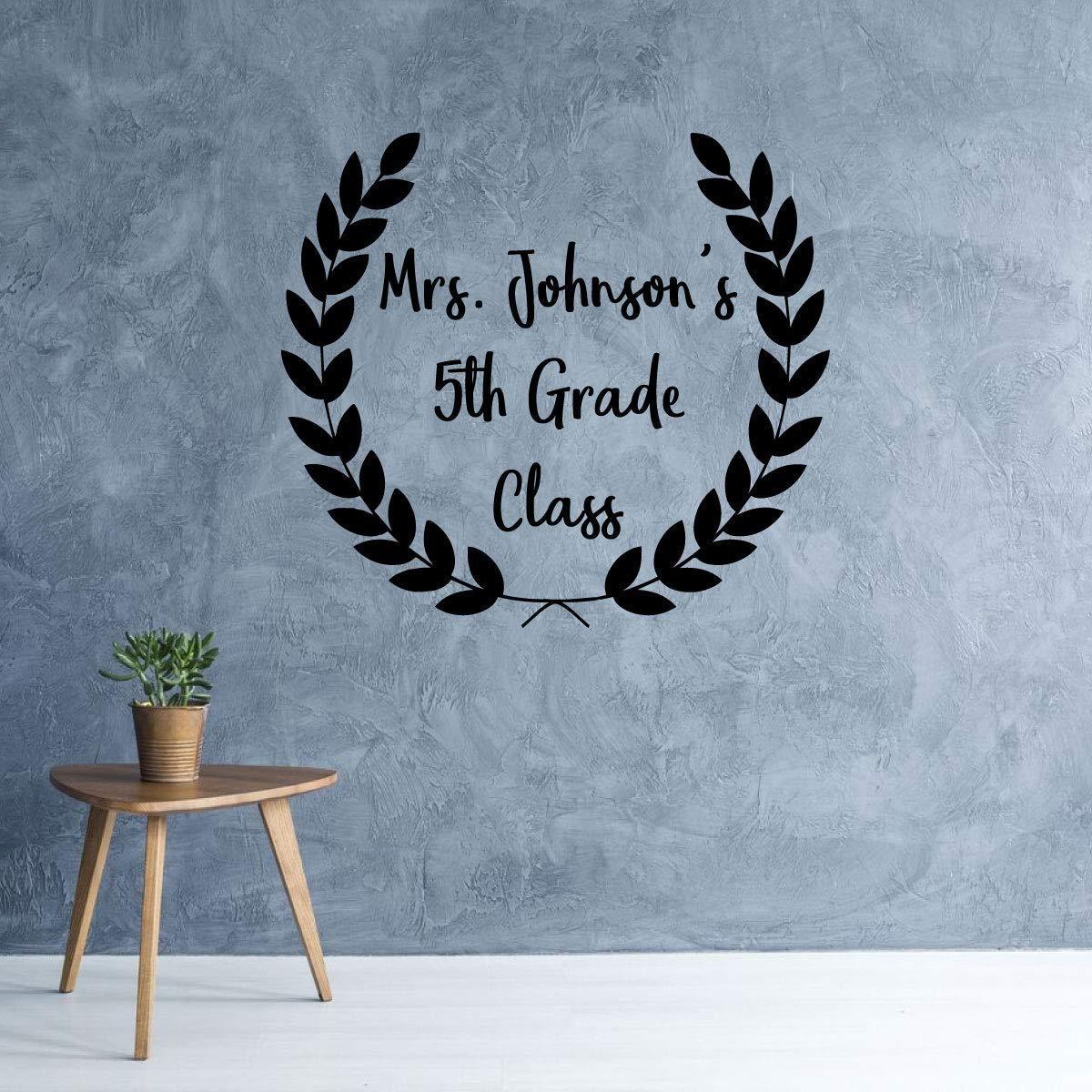 Amazon com personalized teacher appreciation classroom gift semi wreath vinyl wall decal custom name and grade handmade
