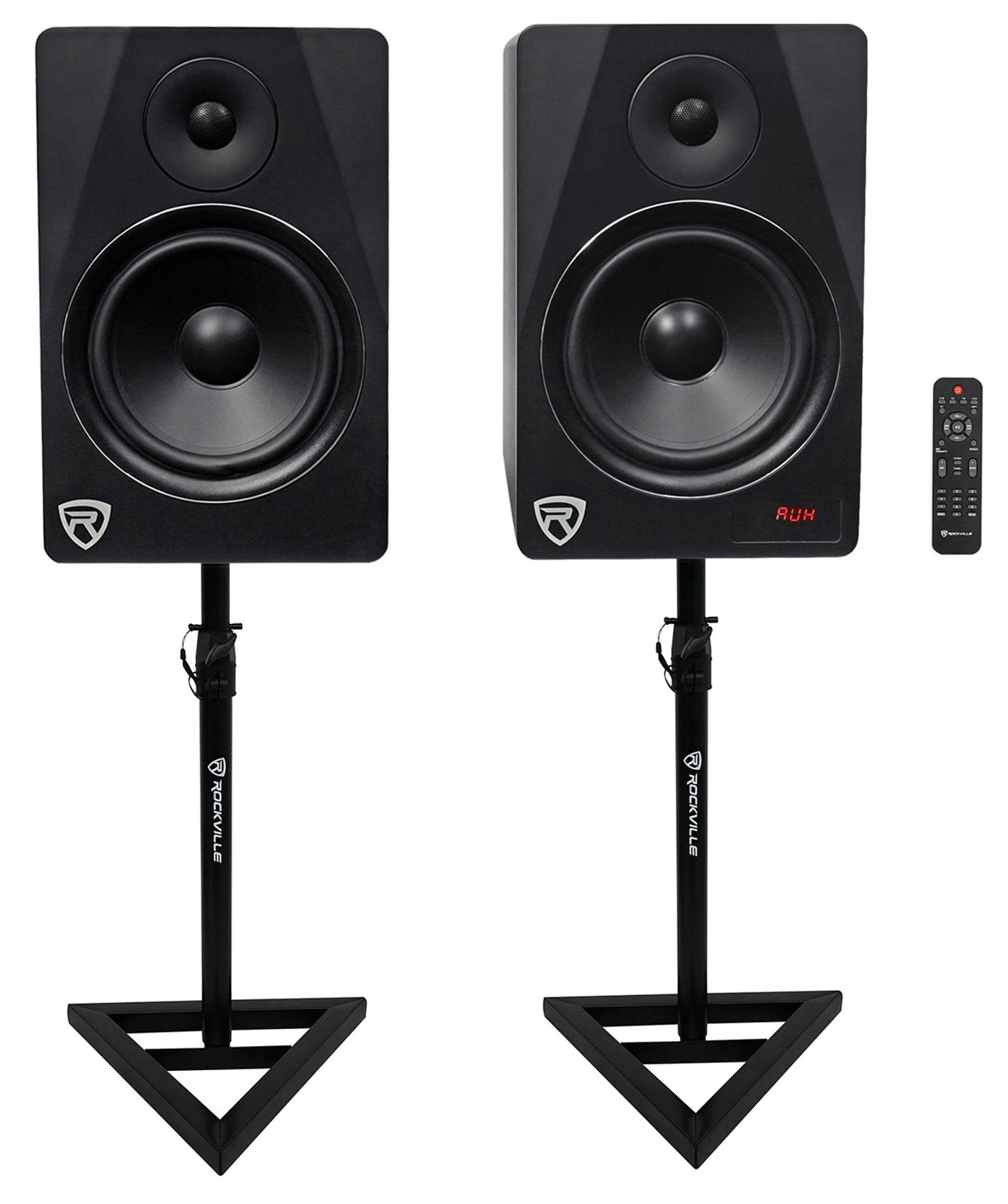 HTS8B 8'' 1000W Powered Home Theater Speakersw/Bluetooth/FM/USB+Stands by Rockville