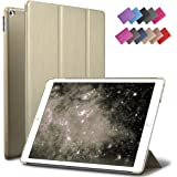 iPad Air 2 Case, ROARTZ Metallic Gold Slim Fit Smart Rubber Coated Folio Case Hard Shell Cover Light-Weight Auto Wake/Sleep For Apple iPad Air 2nd Generation A1566/A1567 Retina Display