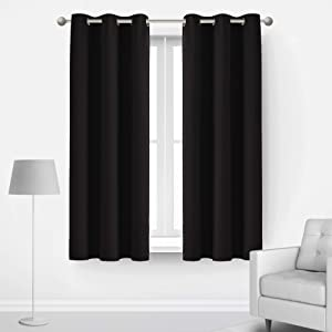 Deconovo Thermal Insulated Curtain Grommet Room Darkening Curtains for Windows 42x45 Inch Black 2 Panels
