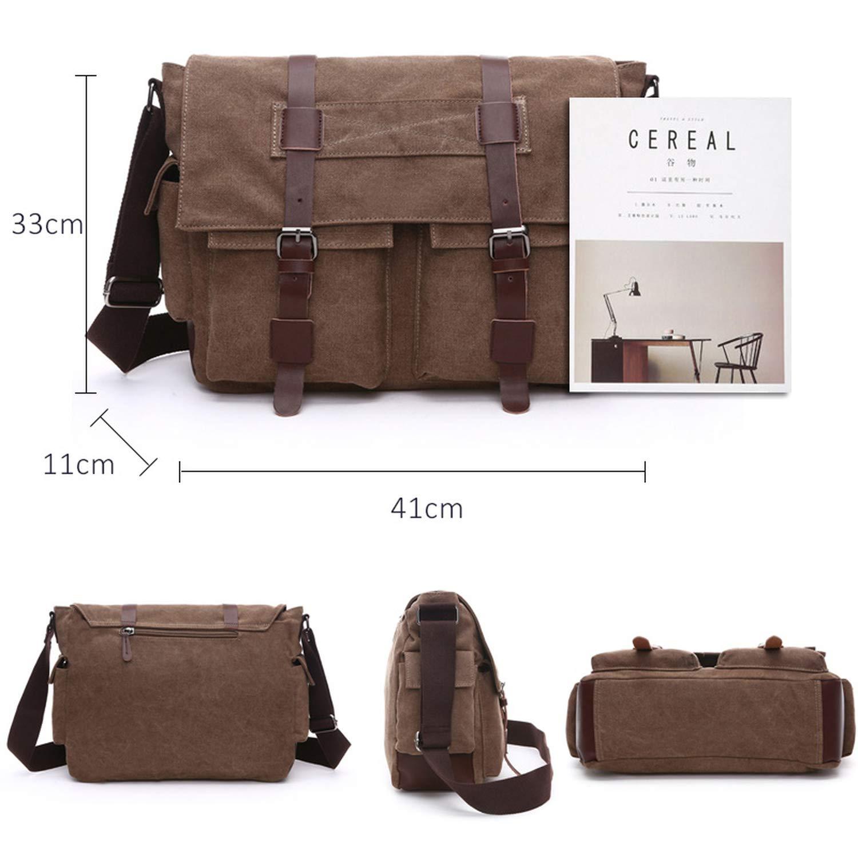 Practical Business Messenger Bags For Men Shoulder Bag Canvas Crossbody Shoulder Pack Retro Casual Office Travel Bag,Khaki,Small