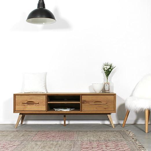 Mueble TV madera maciza patas compás estilo Vintage 2 cajones, 2 ...