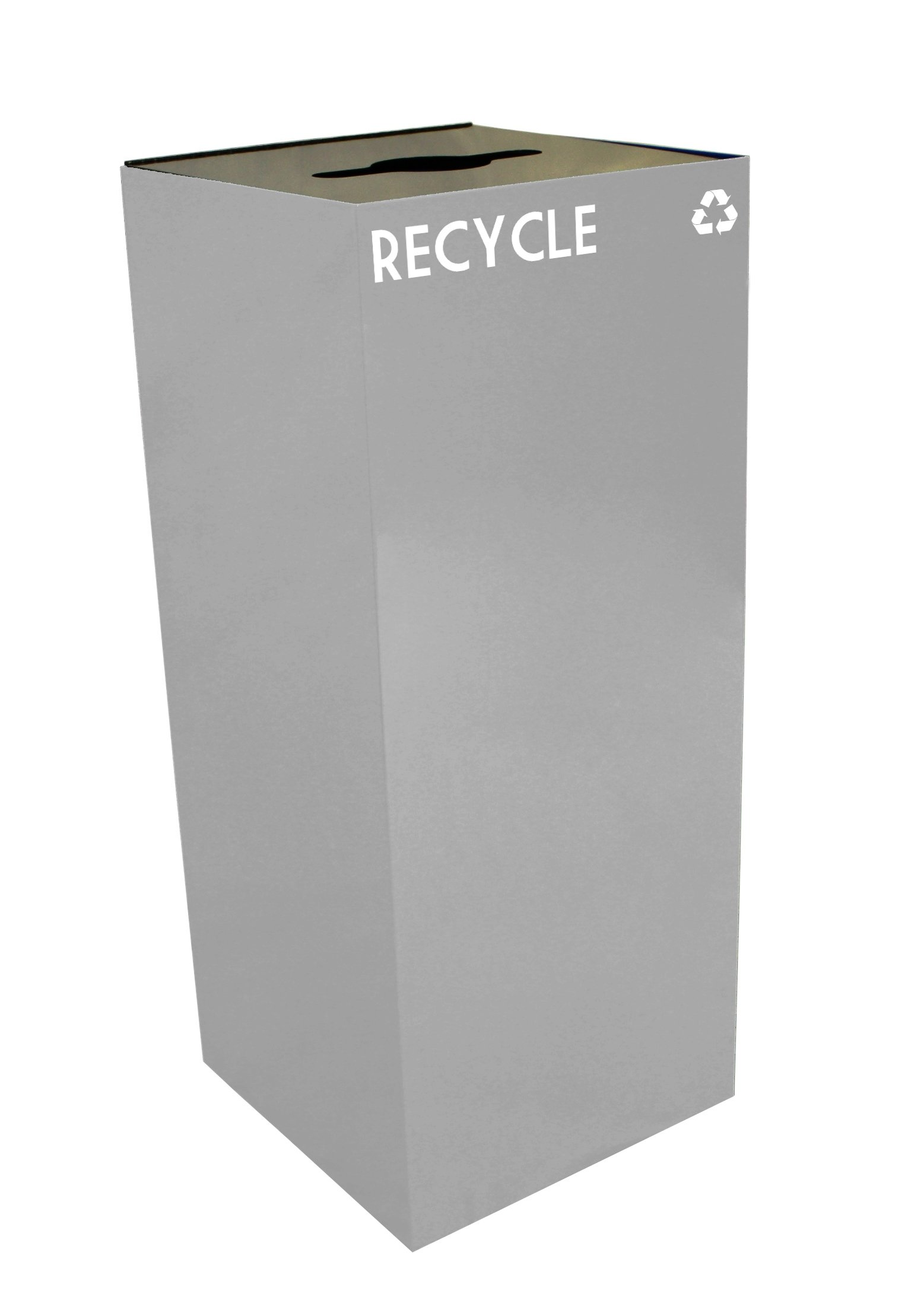 Witt Industries 36GC04-SL GeoCube Recycling Receptacle with Combination Slot/Round Opening, Steel, 36 gal, Slate