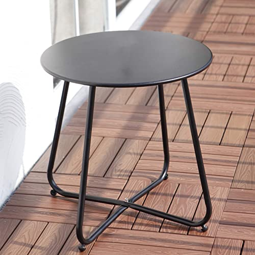 Grand patio Round Metal Side End Table, Steel Patio Coffee Table for Bistro, Porch, Weather Resistant Outside Table Small Black