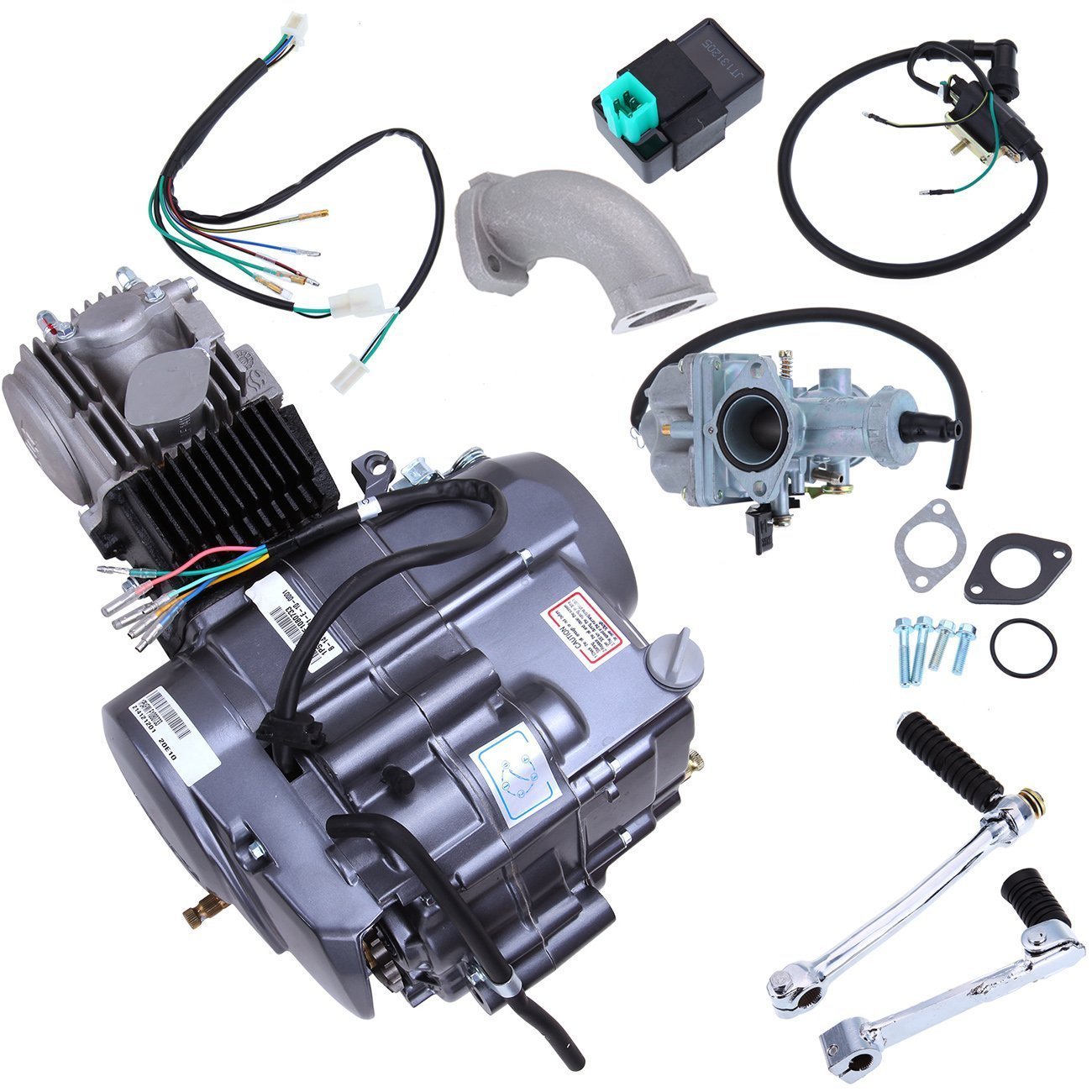 Iglobalbuy 125cc Long Case 4 Stroke 1p52fmi K 124cm3 Wiring Diagram For 125 Cc Lifan To Honda Atc 70 Dirt Bike Engine Motor Carb Complete Kit Xr50 Crf50 Xr Crf 50 Automotive