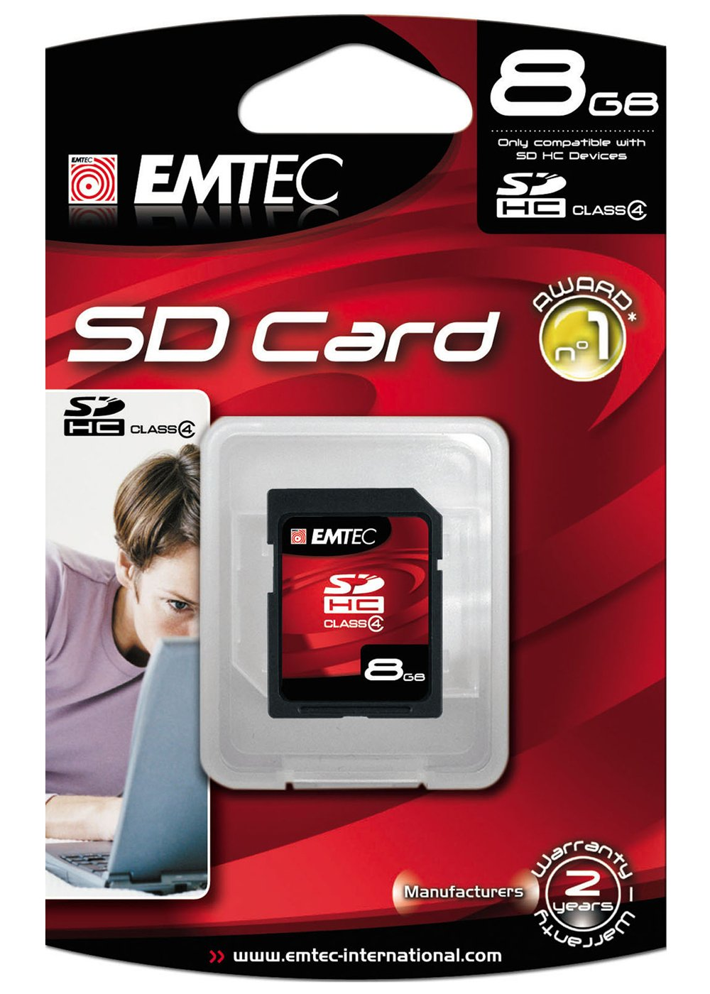 EMTEC Class 4 SDHC Flash Memory Card, 8 GB