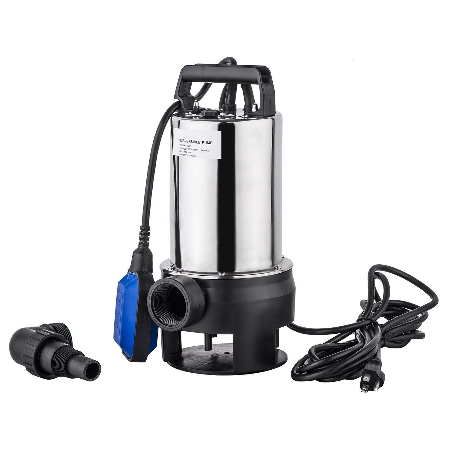 3/2HP 4356GPH Stainless Steel Submersible Sump Pump Garden Dirty Clean Water Pump, Electric Home Lawn Sprinkling Booster Pump Transfer with Float Switch [US STOCK]