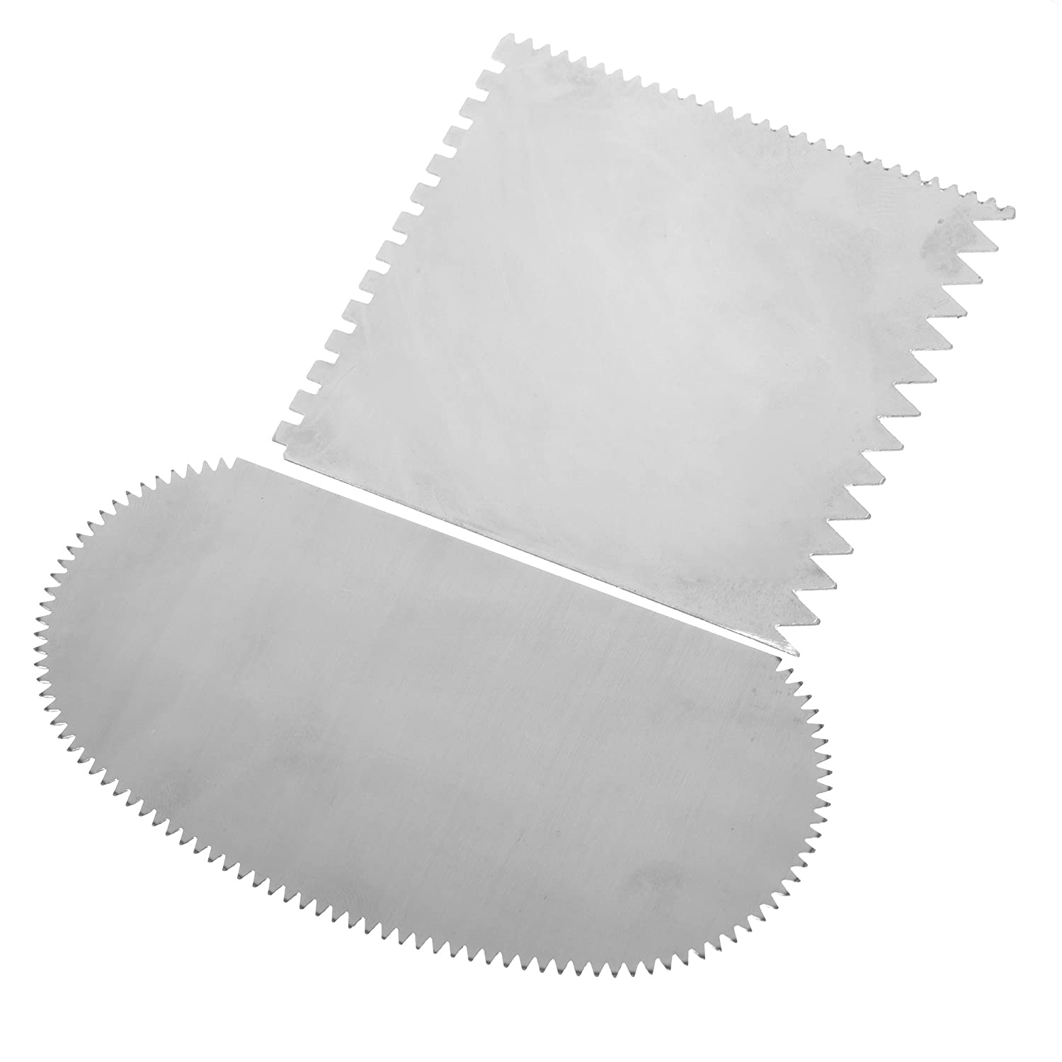 BCP Set of 2 Stainless Steel Serrated Scraper Crafts Tool for Sculpture Ceramic by BCP