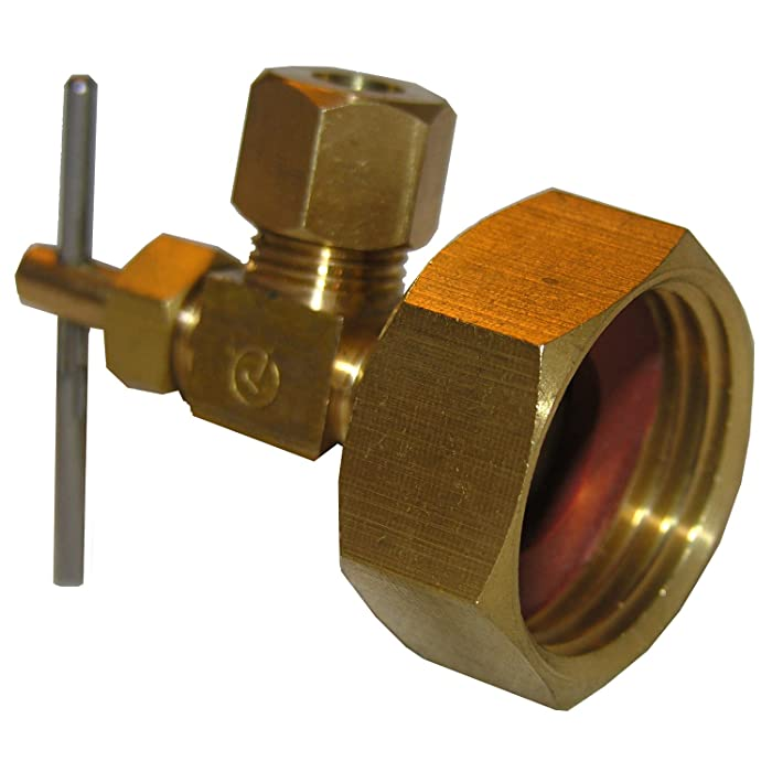 LASCO 17-8385 3/4 Female Garden Hose Thread by 1/4-Inch Compression Needle Valve Brass Adapter