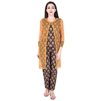 0b1f295ca8af1 Pink Lemon Brown Printed Trousers   crop top with long Mustard Jacket (Set  of 3)  Amazon.in  Clothing   Accessories