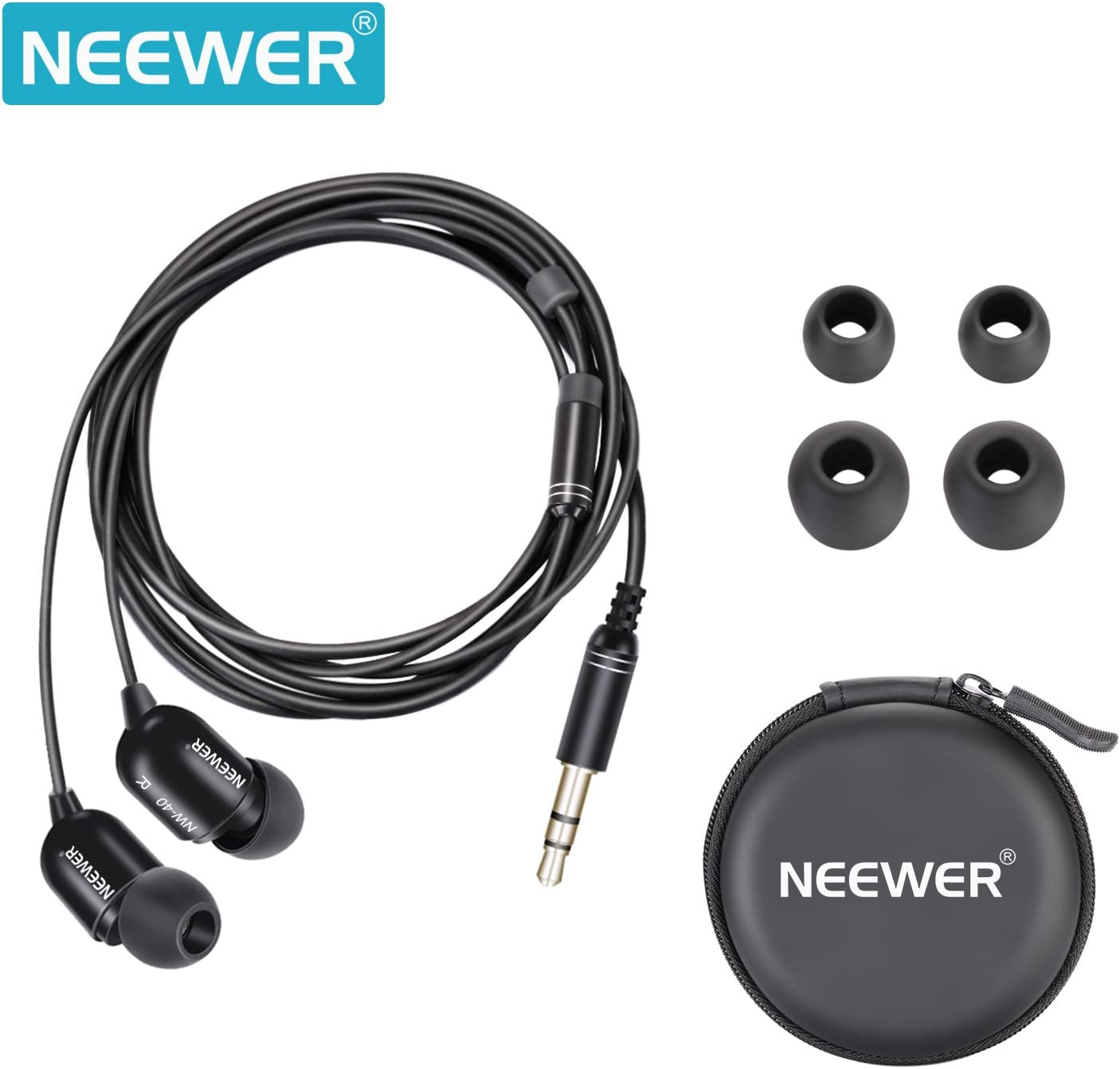 Neewer Universal Running Sport Headphones In Ear Noise Isolating Wired Earphones with 3 Pairs of Earbuds for Listening to Music, Online Chatting, Jogging Gym for iPhone Samsung iPod, Black NW-40