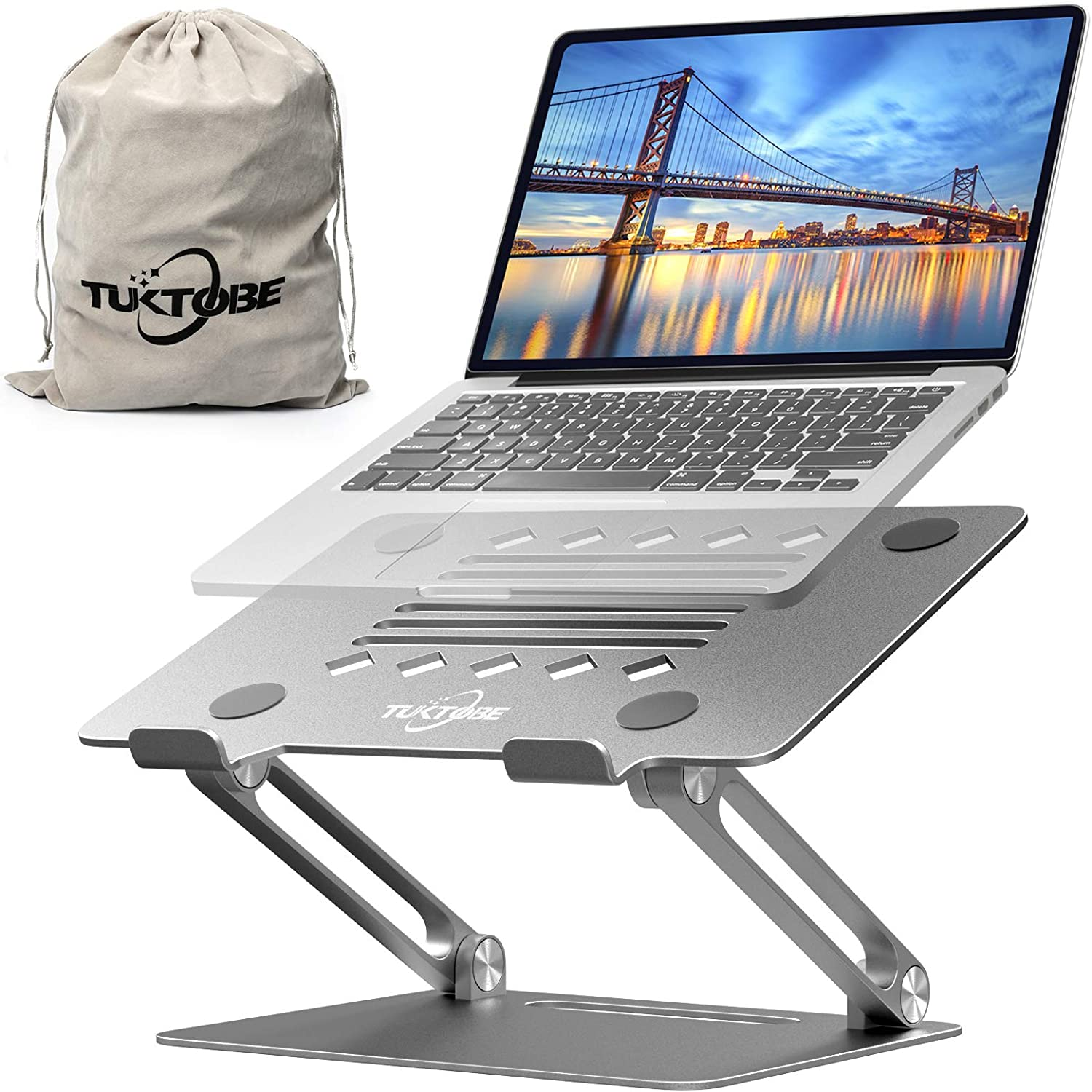 TUKTOBE Laptop Stand, Ergonomic Height Angle Adjustable Laptop Holder Aluminum Notebook Stand Riser with Heat-Vent Computer Stand for Desk Compatible with MacBook Air Pro, Dell XPS, Lenovo (Silver)