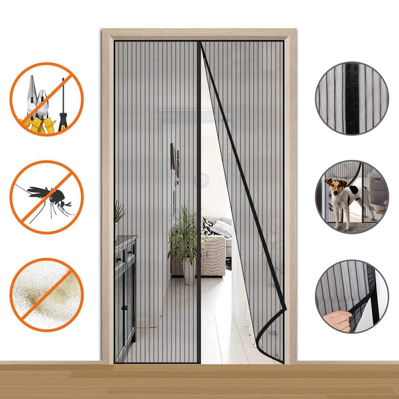 Moustiquaire sur Mesure de Porte 70 x 180 cm,Rideau de Porte Antimoustique Portes pour Couloirs Patio Moustiquaire Ajustable aimant/ée