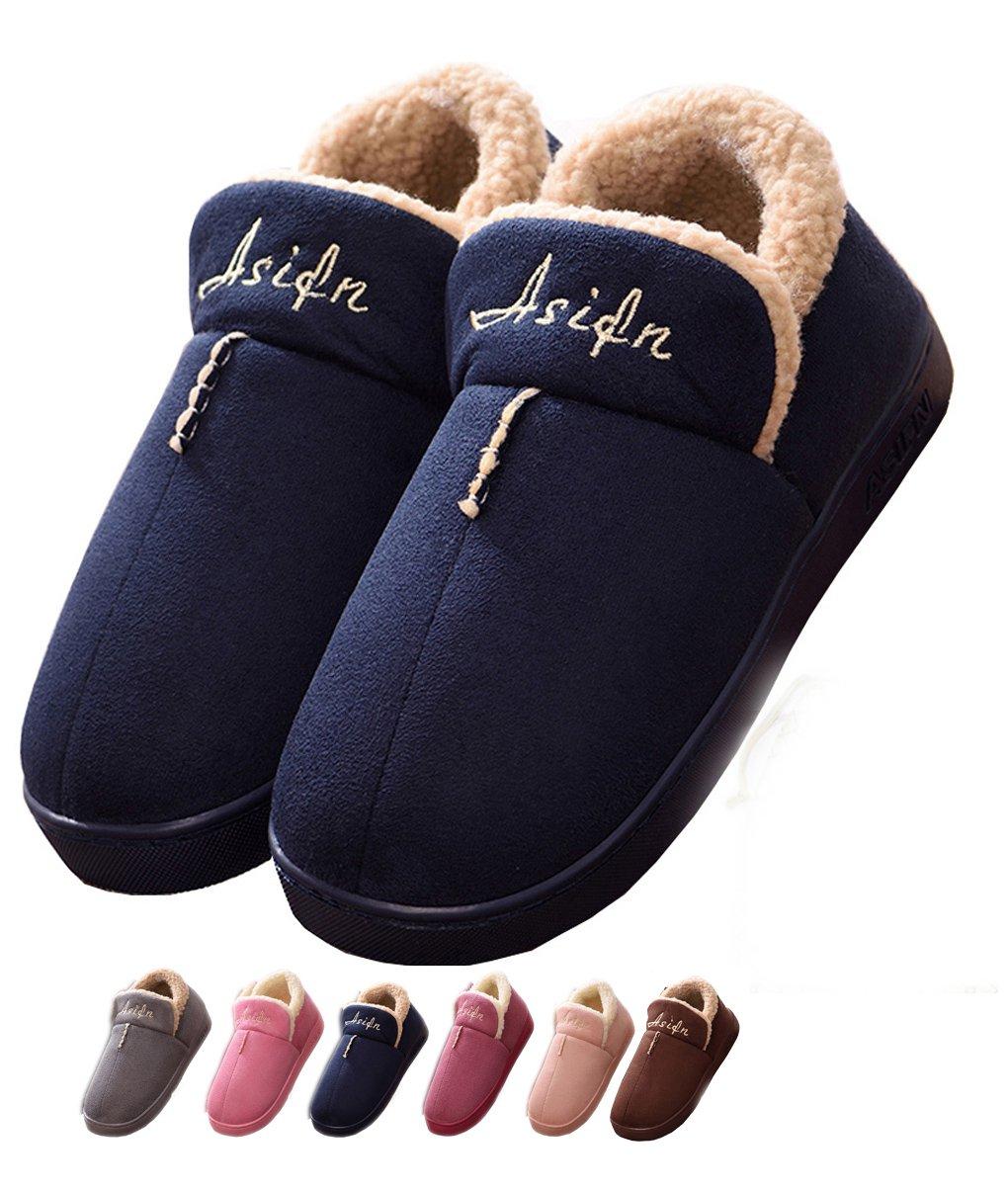 Asifn Lijeer Indoor Home Men Slippers House Women Cozy Memory Foam Warm Snti Skid Wear Resistant Wool Drag (Women5.5-6.5/Men4-5, Blue)