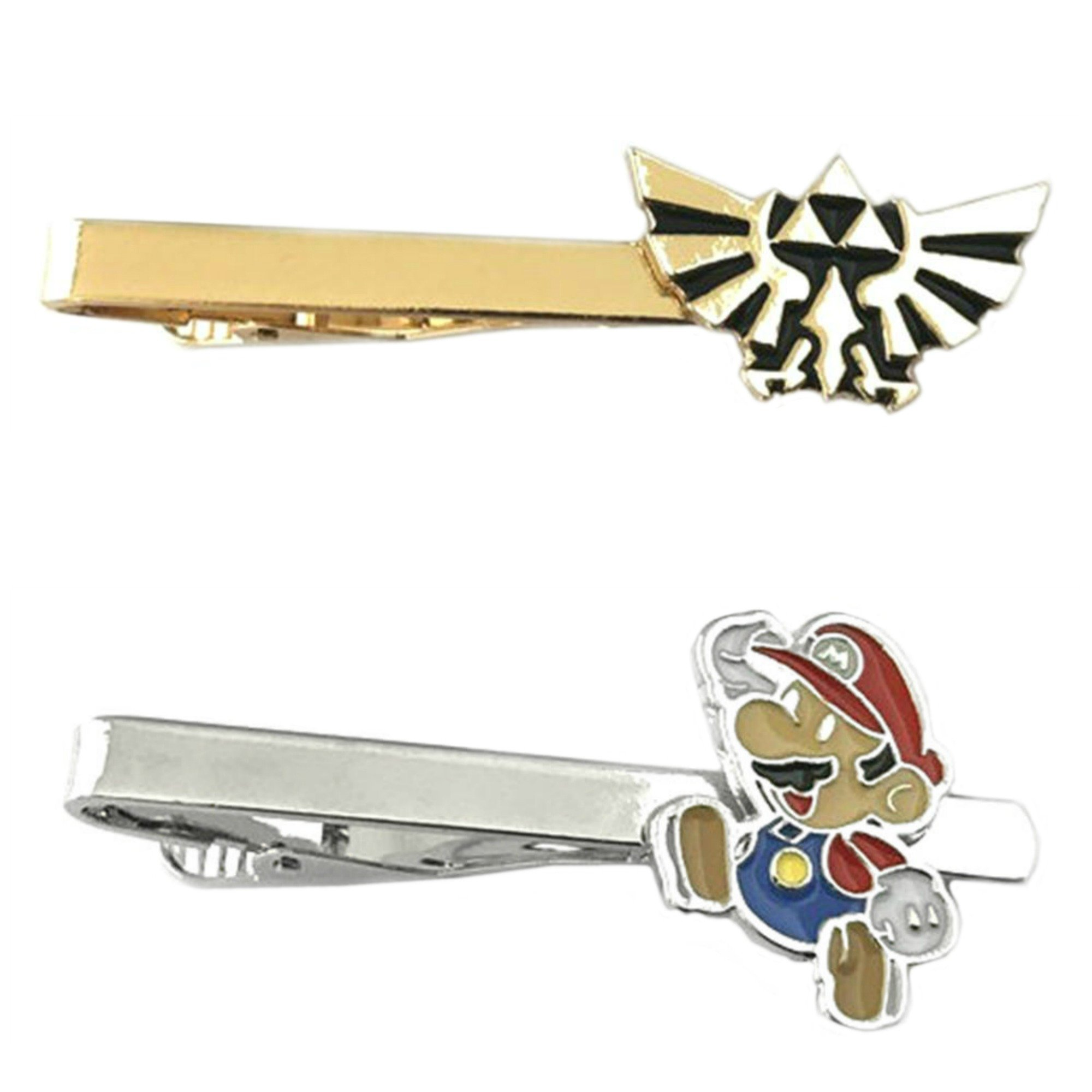 Outlander Video Games - Legend of Zelda Hyrule & Mario's Face - Tiebar Tie Clasp Set of 2 Wedding Superhero Logo w/Gift Box