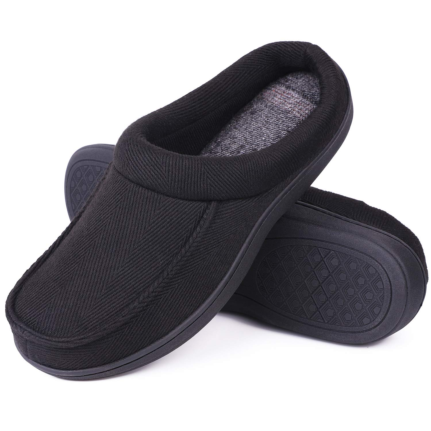 f2a8f944d34fe LongBay Men's Memory Foam Clog Slippers Warm Comfy Wool Cloth Slide House  Shoes for Indoor & Outdoor Use