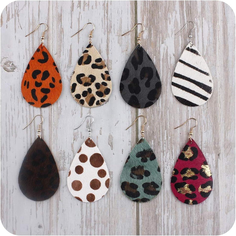 Pendientes de gota de piel auténtica con estampado de leopardo para mujer
