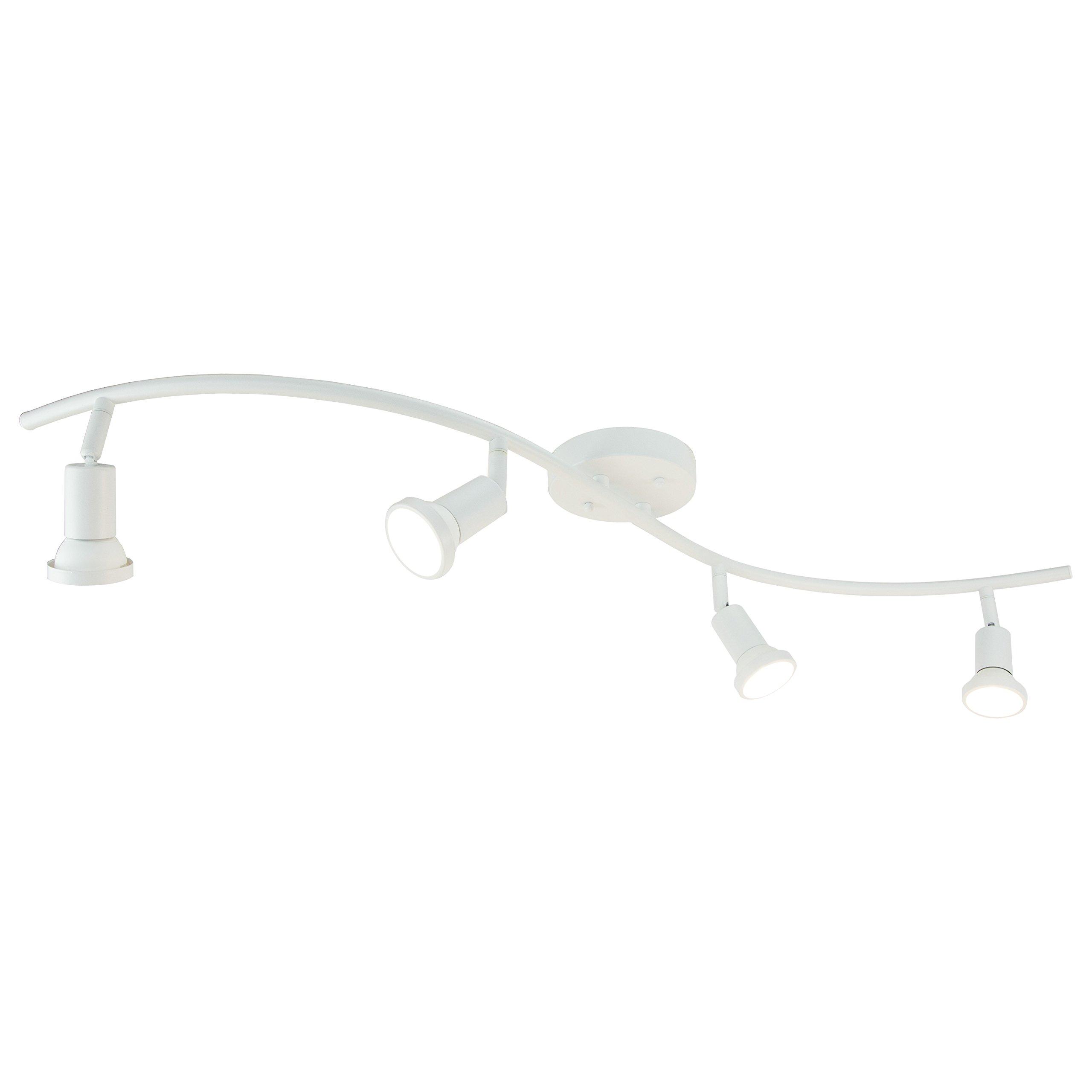 DnD 4-Light Adjustable LED Track Lighting Kit - Curved - GU10 LED Bulbs Included. CE20014-LED-WS (White LED)