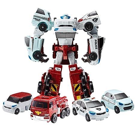 Tobot Mini Quatran, Car Transforming Robot Car to Robot Animation Character 4 Car Integration Quadrant Youngtoys