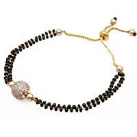The Luxor Fashion Jewellery Attractive Gold Tone Black Beads & American Diamond Gold Plated Classic Charm Mangalsutra Bracelet Girls and Women