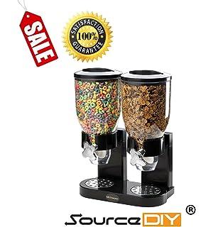 Doble almacenador negro, dispensador de cereales para alimentos secos. Organizador de cereales con diseño